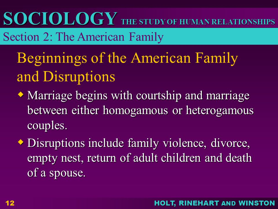 Beginnings of the American Family and Disruptions