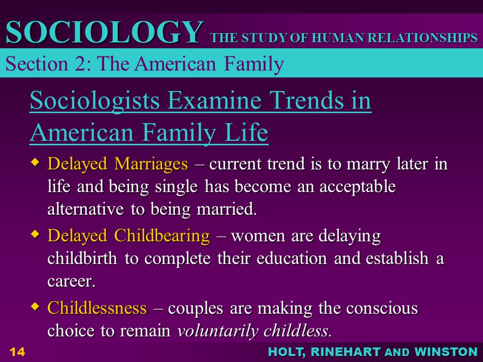 Sociologists Examine Trends in American Family Life