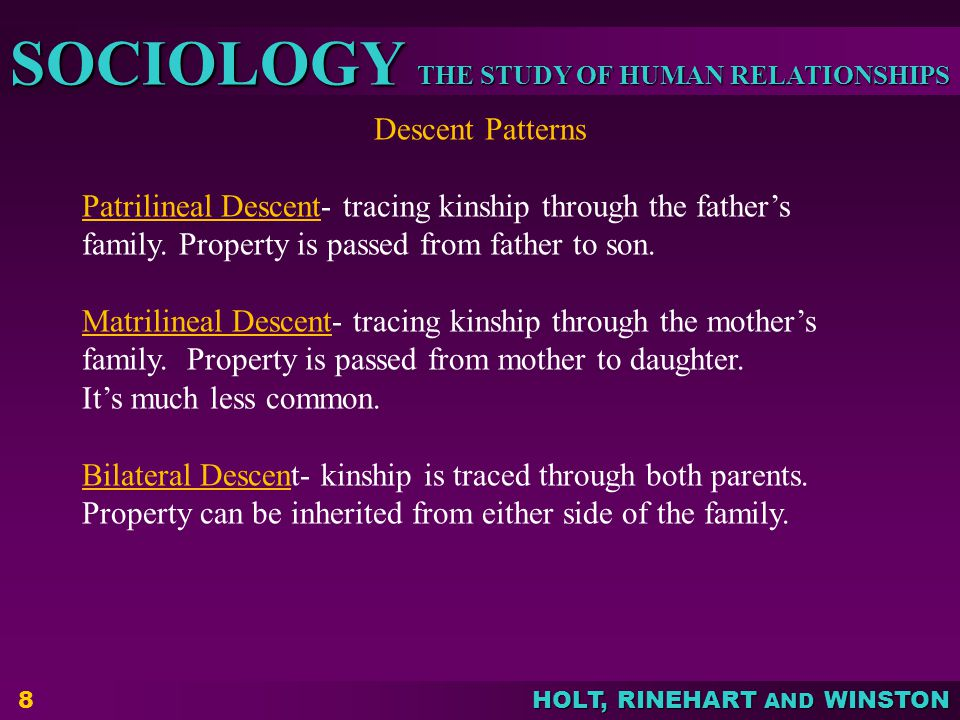 Descent Patterns Patrilineal Descent- tracing kinship through the father's family. Property is passed from father to son.