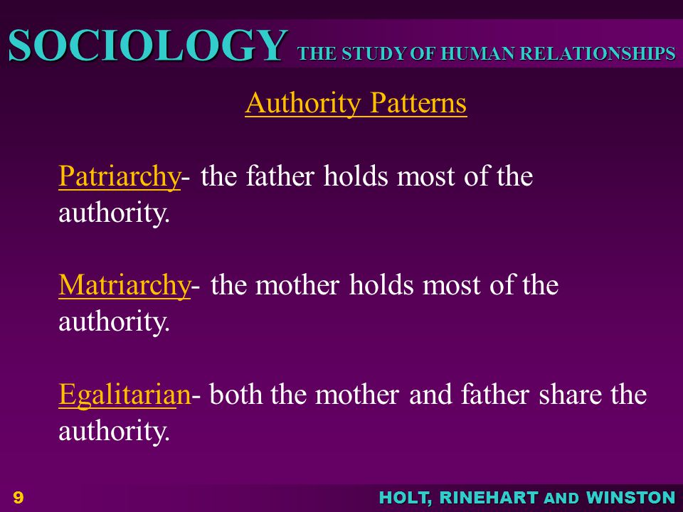 Authority Patterns Patriarchy- the father holds most of the authority. Matriarchy- the mother holds most of the authority.