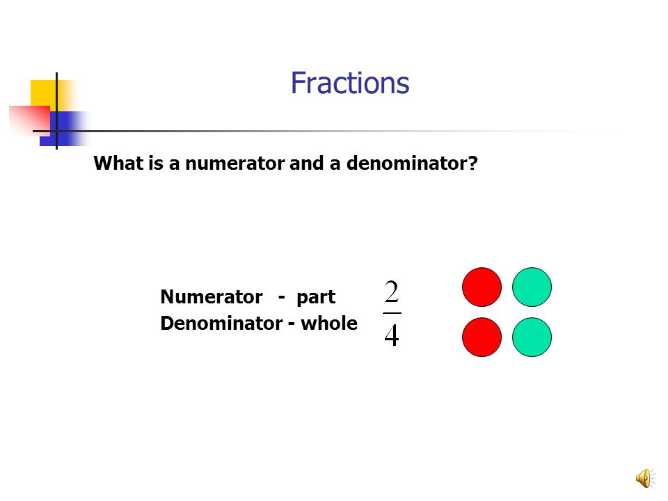 Fractions What is a numerator and a denominator Numerator - part