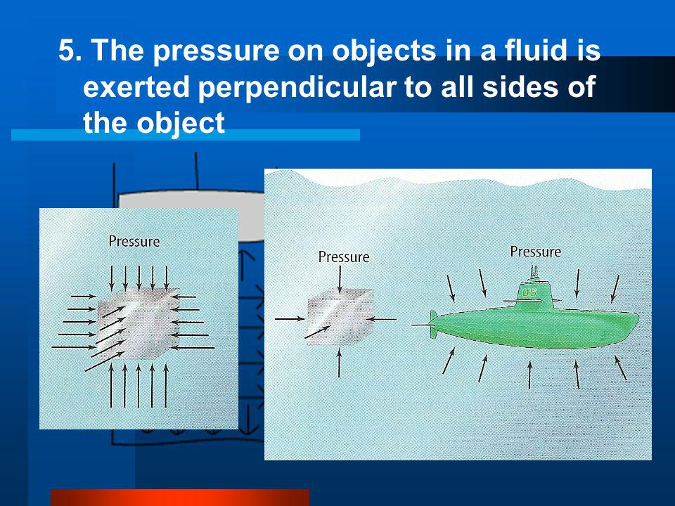 5. The pressure on objects in a fluid is exerted perpendicular to all sides of the object