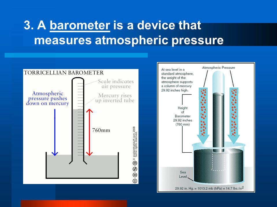 3. A barometer is a device that measures atmospheric pressure