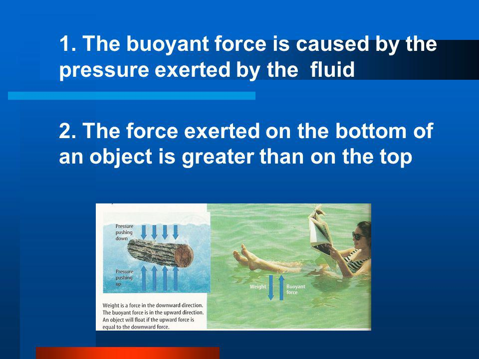 1. The buoyant force is caused by the pressure exerted by the fluid 2