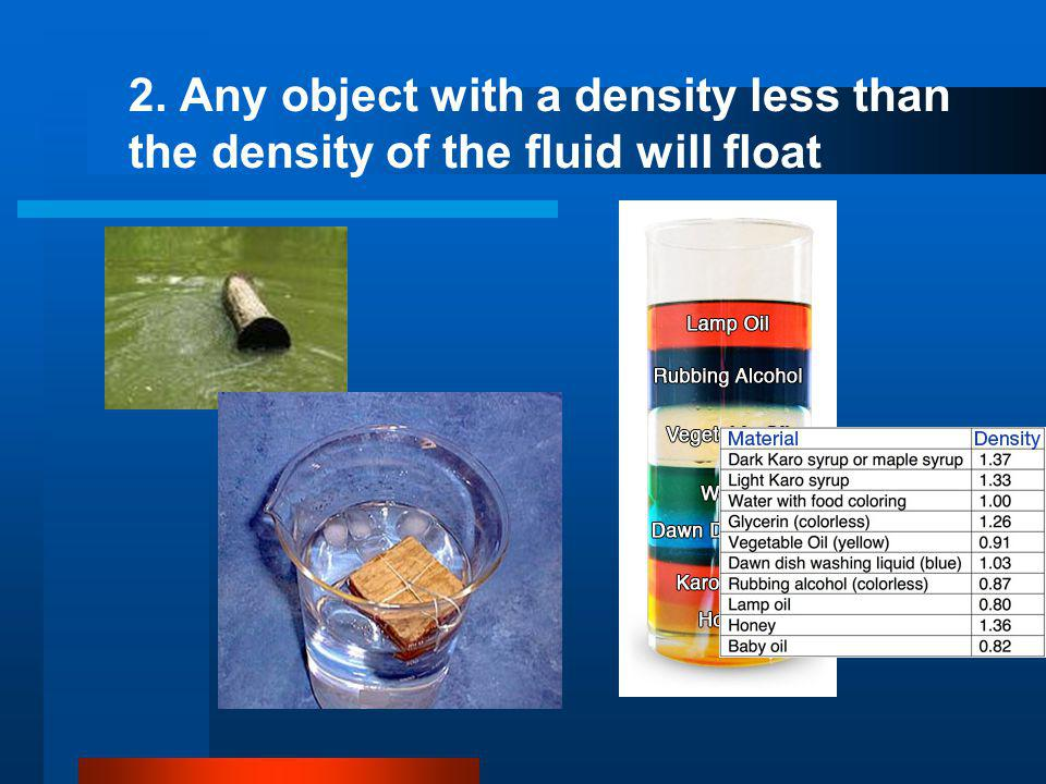 2. Any object with a density less than the density of the fluid will float