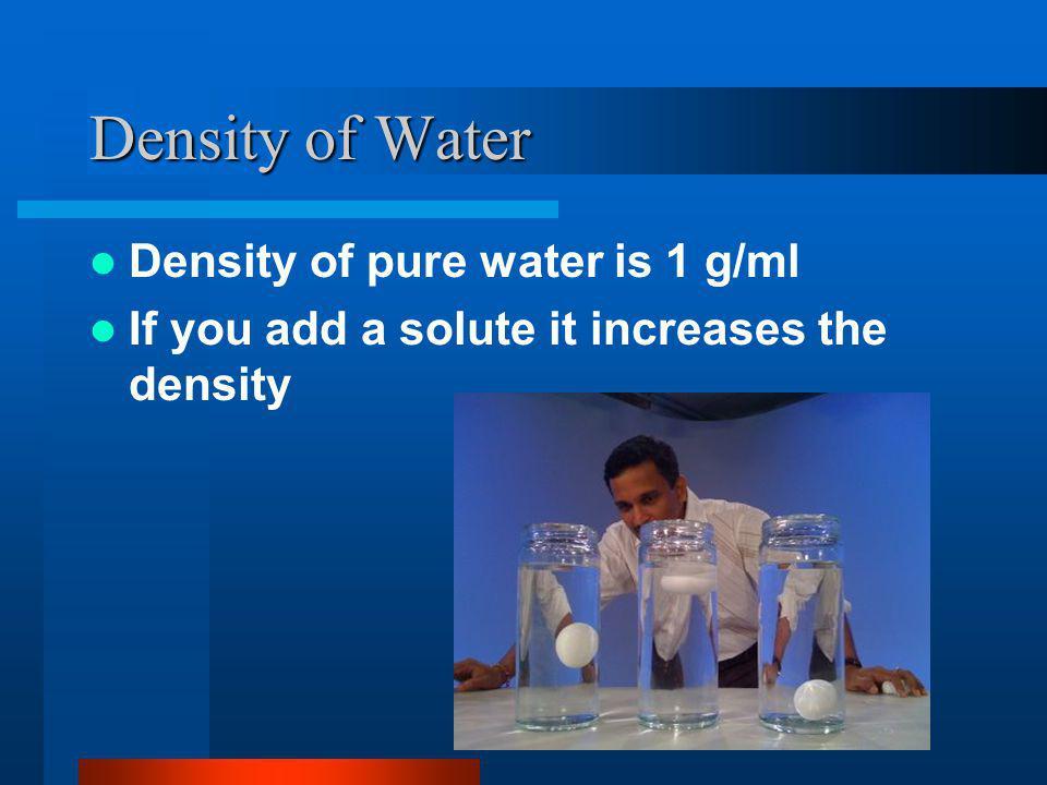 Density of Water Density of pure water is 1 g/ml