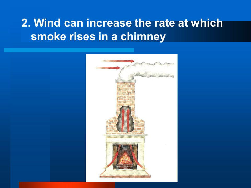 2. Wind can increase the rate at which smoke rises in a chimney