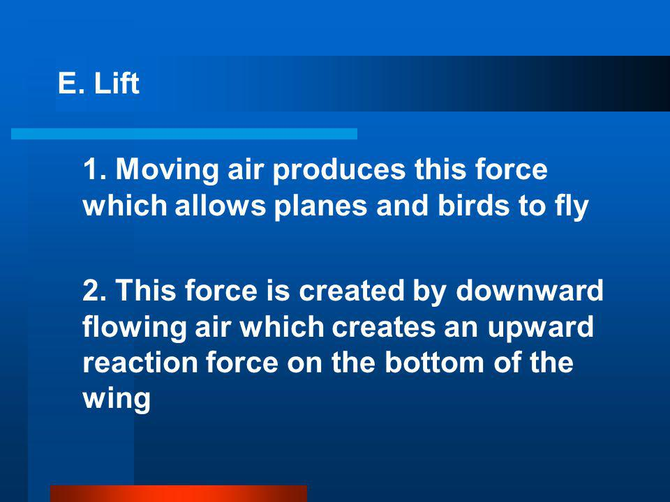 E. Lift 1. Moving air produces this force which allows planes and birds to fly.