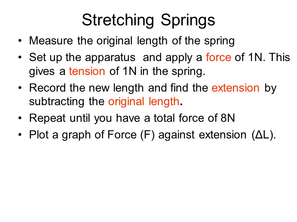Stretching Springs Measure the original length of the spring