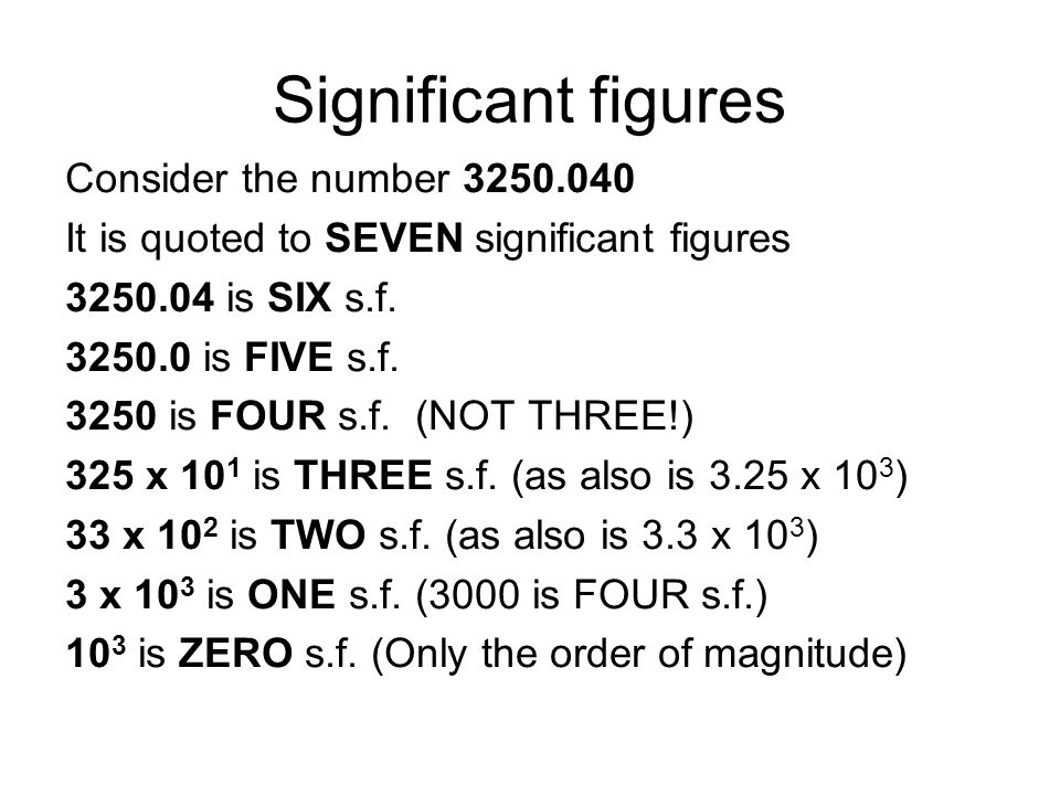 Significant figures Consider the number 3250.040