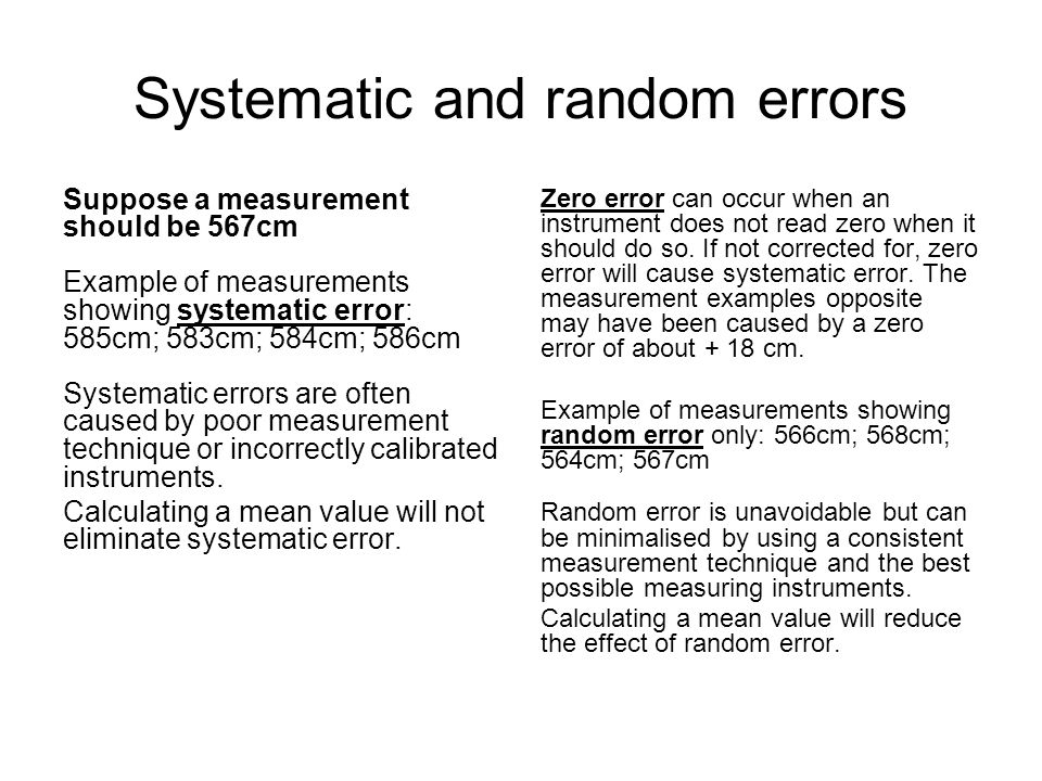 Systematic and random errors