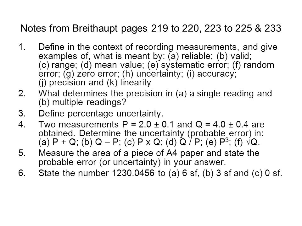 Notes from Breithaupt pages 219 to 220, 223 to 225 & 233