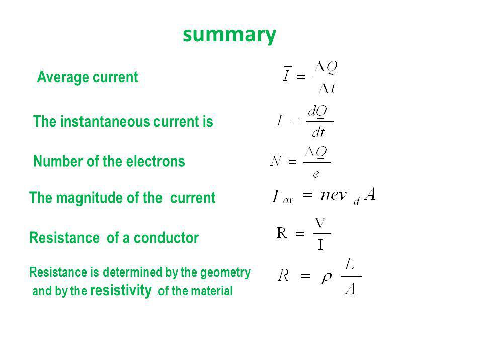 summary Average current The instantaneous current is