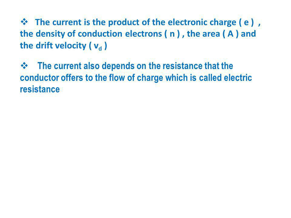 The current is the product of the electronic charge ( e ) , the density of conduction electrons ( n ) , the area ( A ) and the drift velocity ( vd )