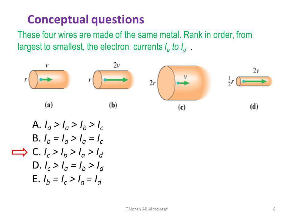 Conceptual questions A. Id > Ia > Ib > Ic