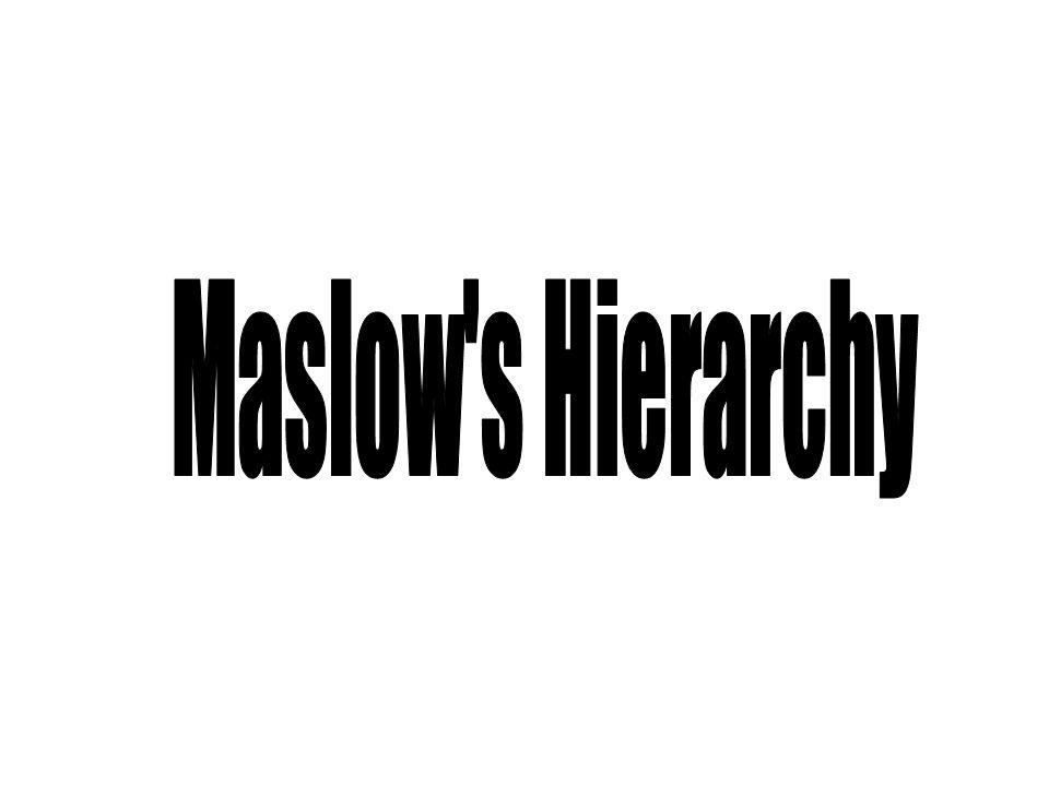 Maslow s Hierarchy