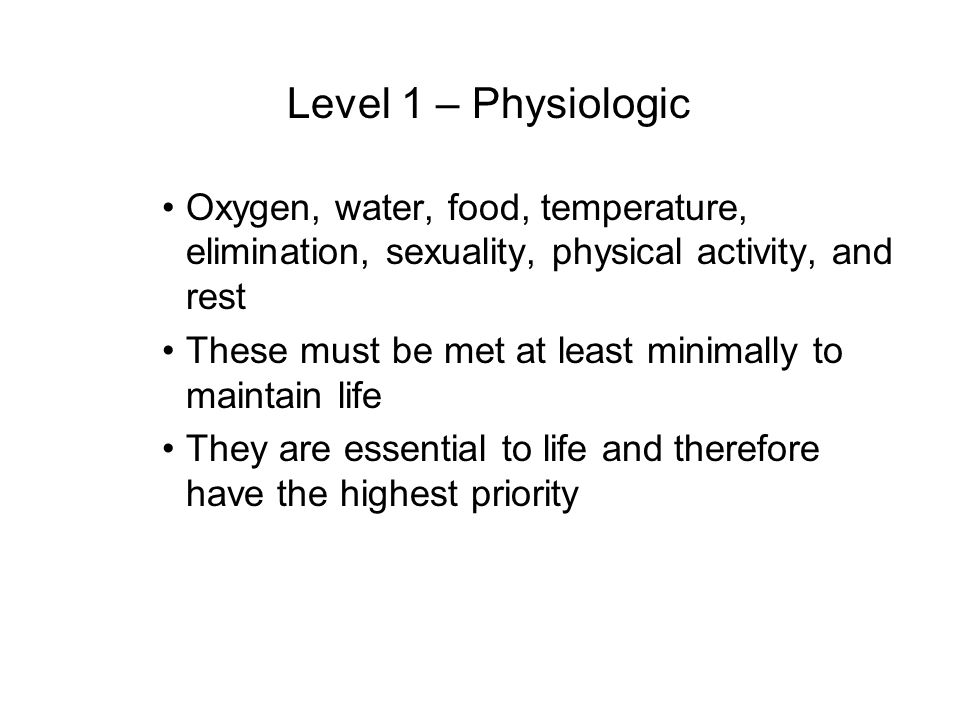 Level 1 – PhysiologicOxygen, water, food, temperature, elimination, sexuality, physical activity, and rest.