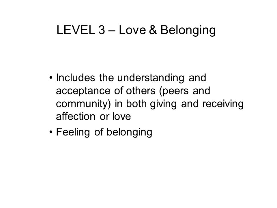 LEVEL 3 – Love & Belonging