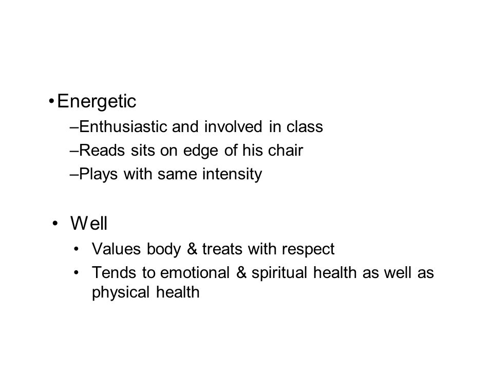 Energetic Well Enthusiastic and involved in class