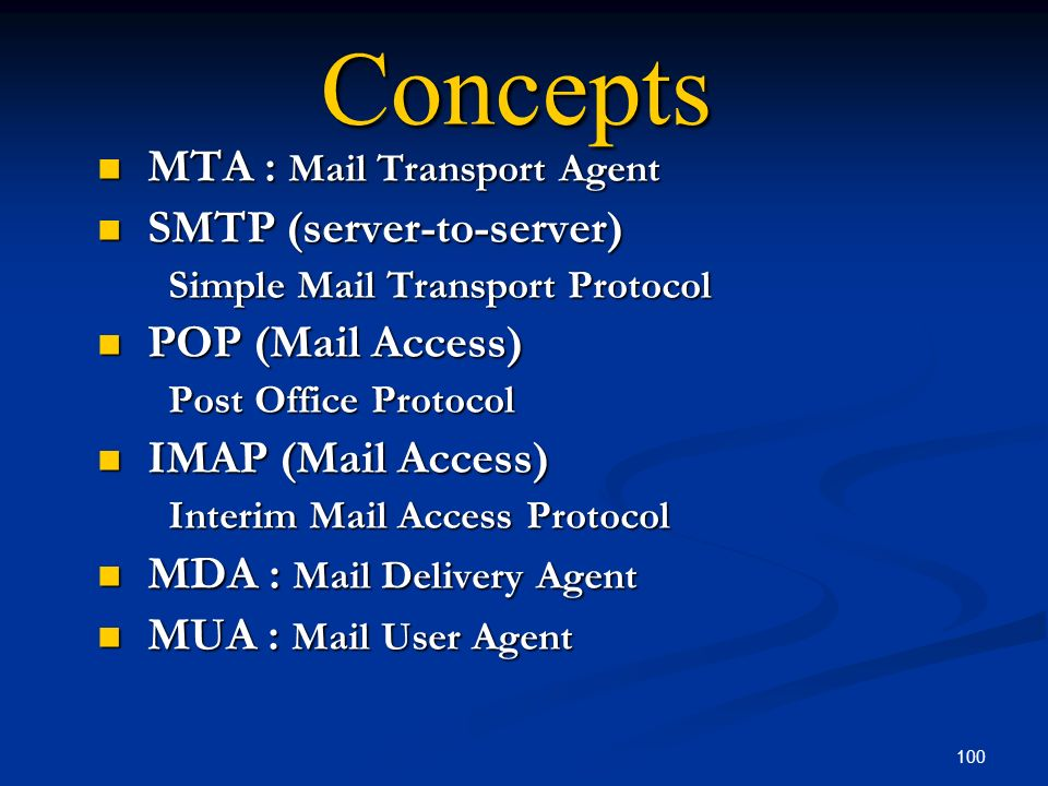 Concepts MTA : Mail Transport Agent SMTP (server-to-server)