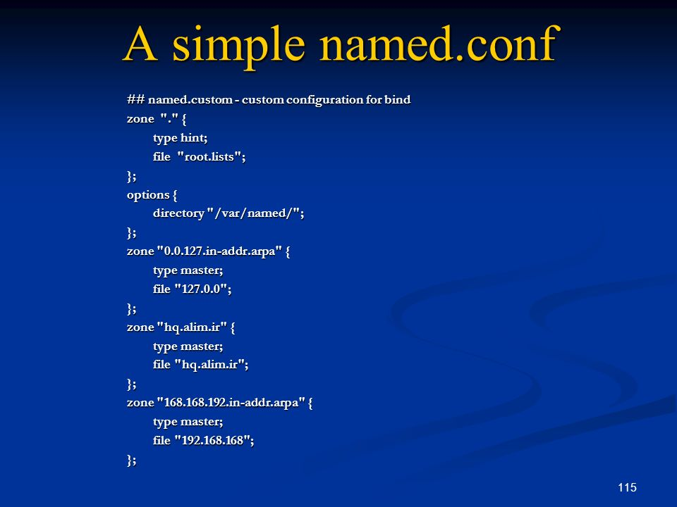 A simple named.conf ## named.custom - custom configuration for bind