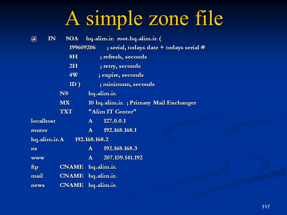 A simple zone file @ IN SOA hq.alim.ir. root.hq.alim.ir. (