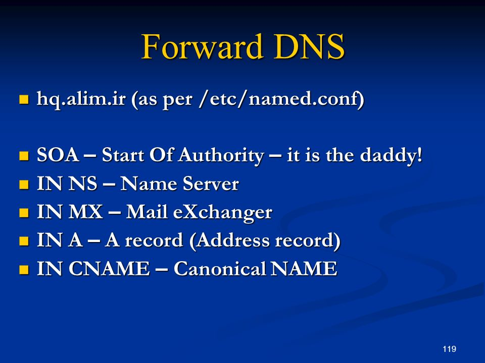 Forward DNS hq.alim.ir (as per /etc/named.conf)