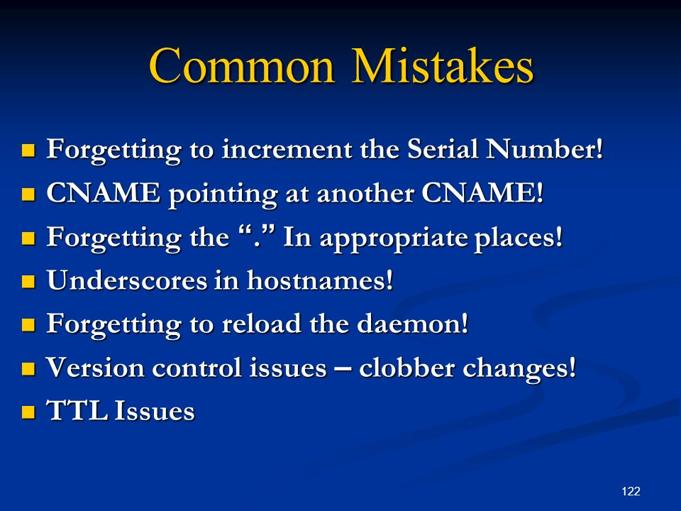 Common Mistakes Forgetting to increment the Serial Number!