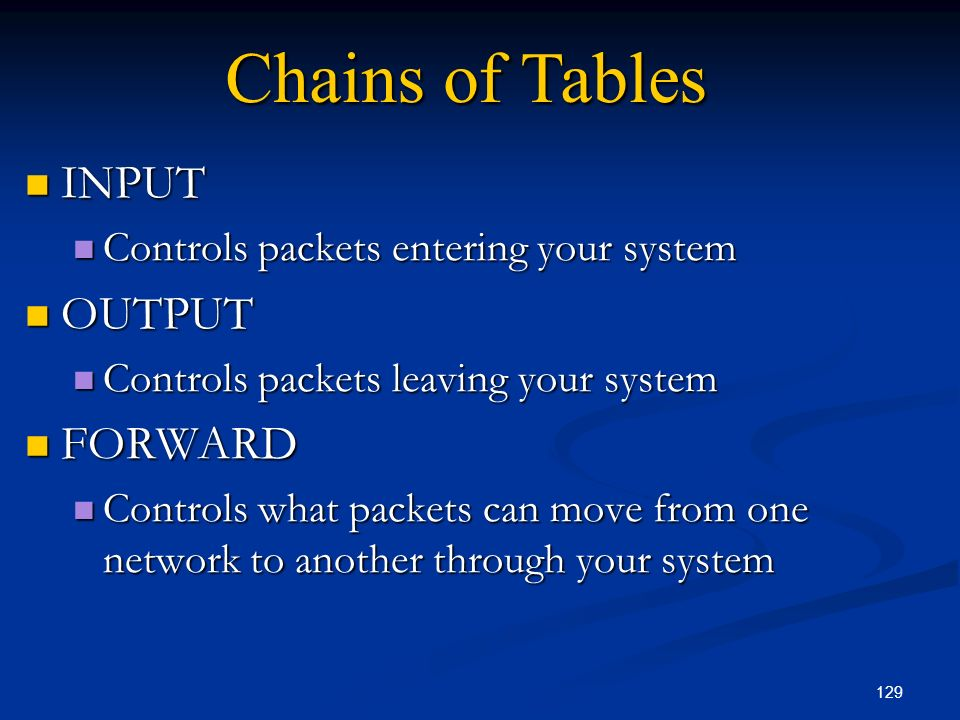 Chains of Tables INPUT OUTPUT FORWARD