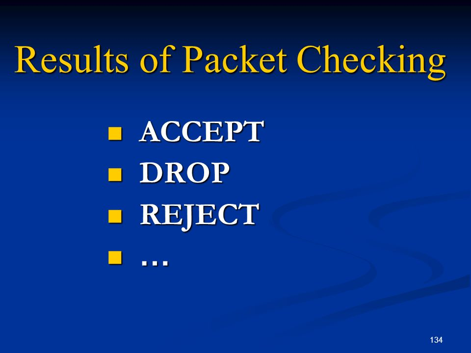 Results of Packet Checking