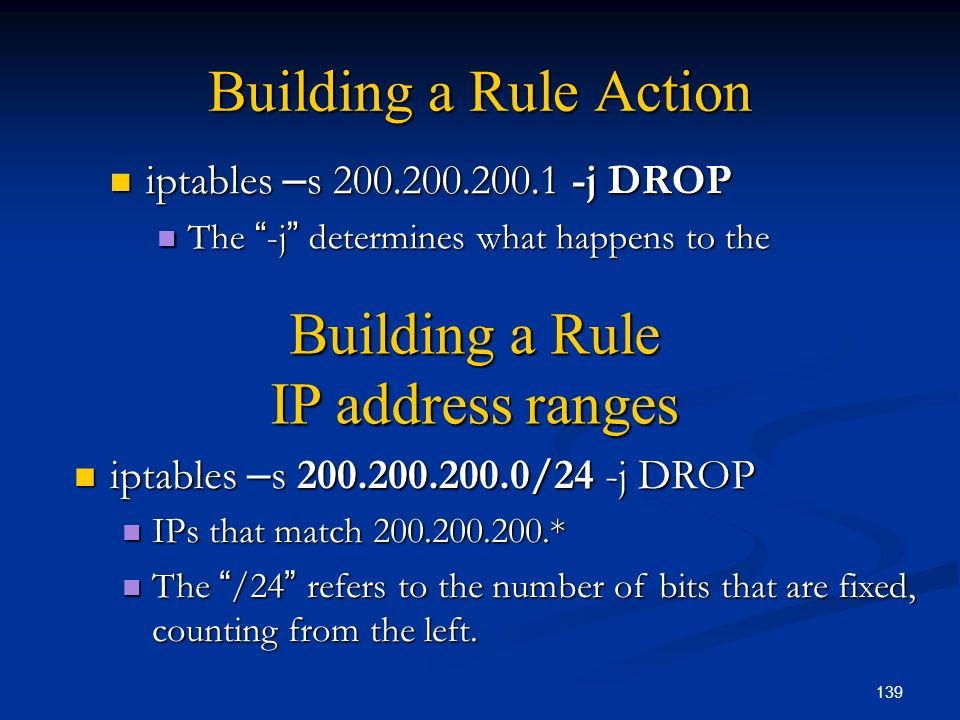 Building a Rule IP address ranges