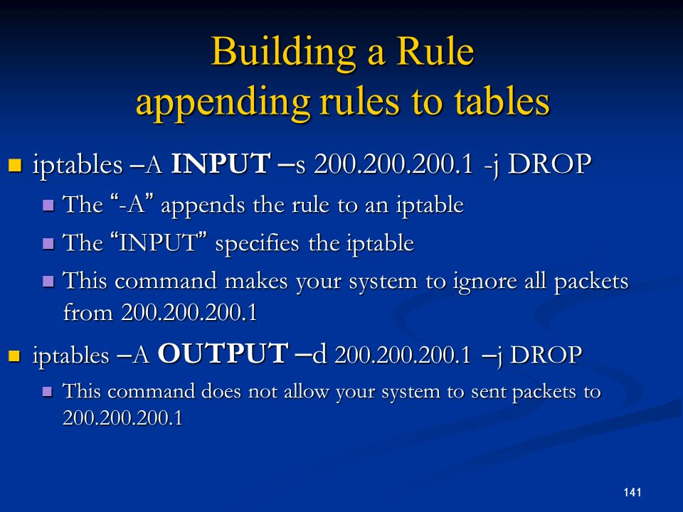 Building a Rule appending rules to tables