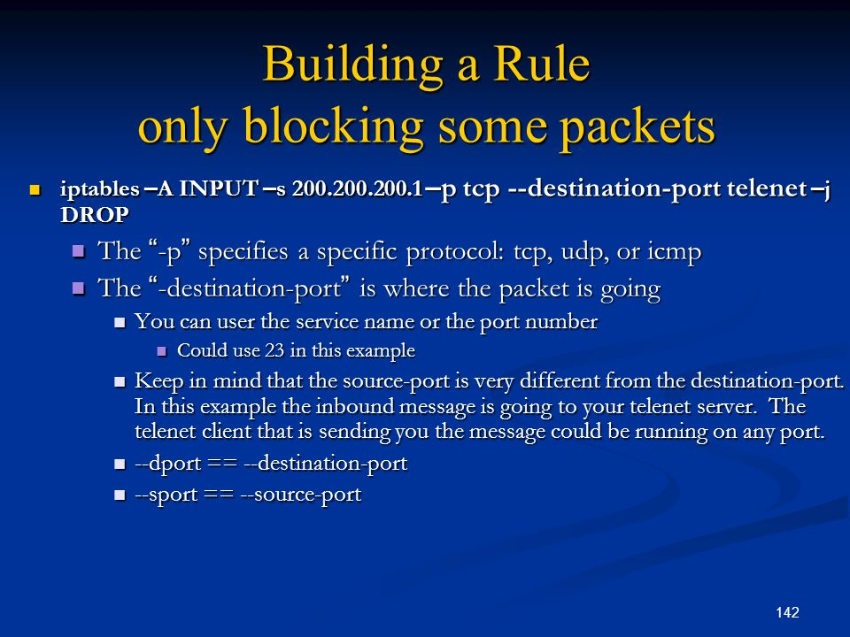 Building a Rule only blocking some packets