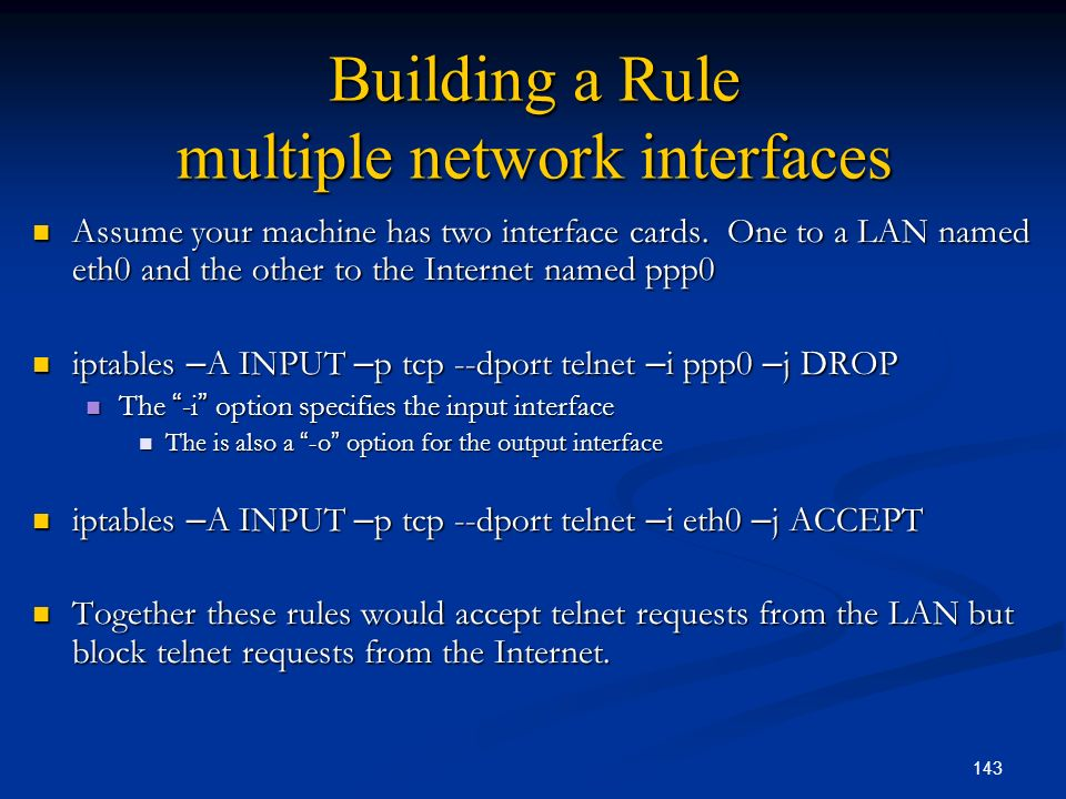 Building a Rule multiple network interfaces