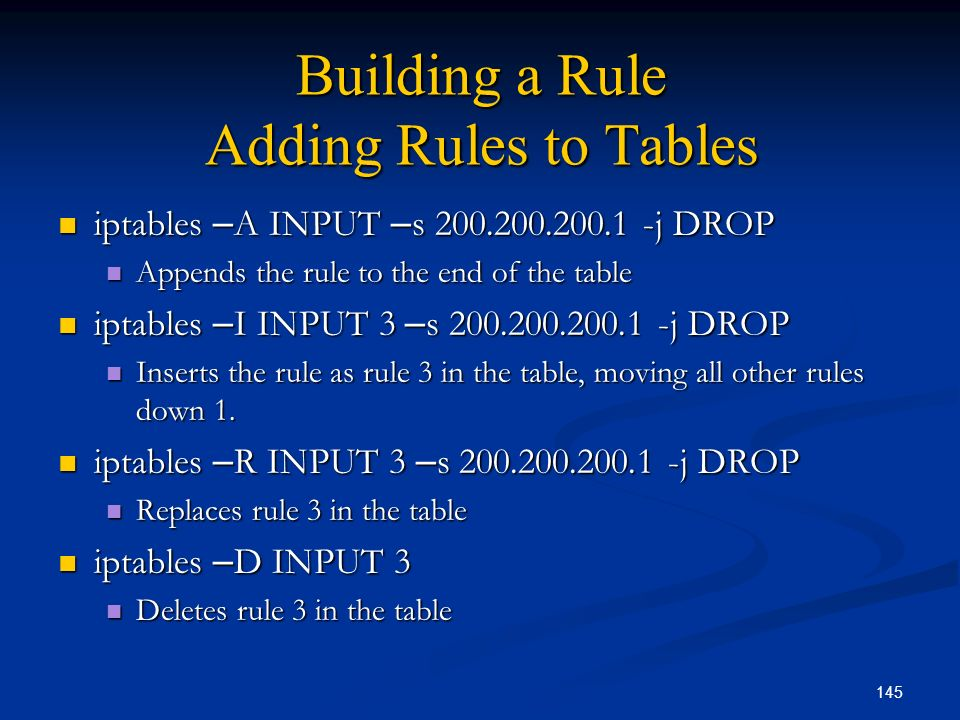 Building a Rule Adding Rules to Tables