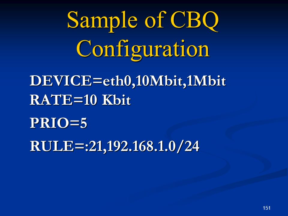 Sample of CBQ Configuration