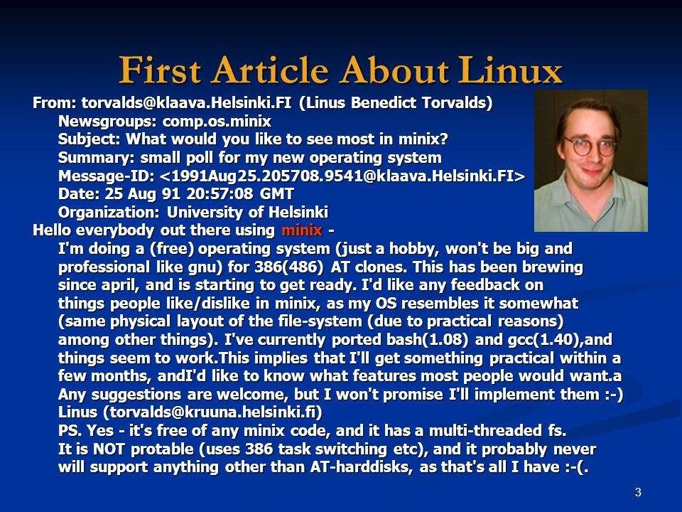 First Article About Linux