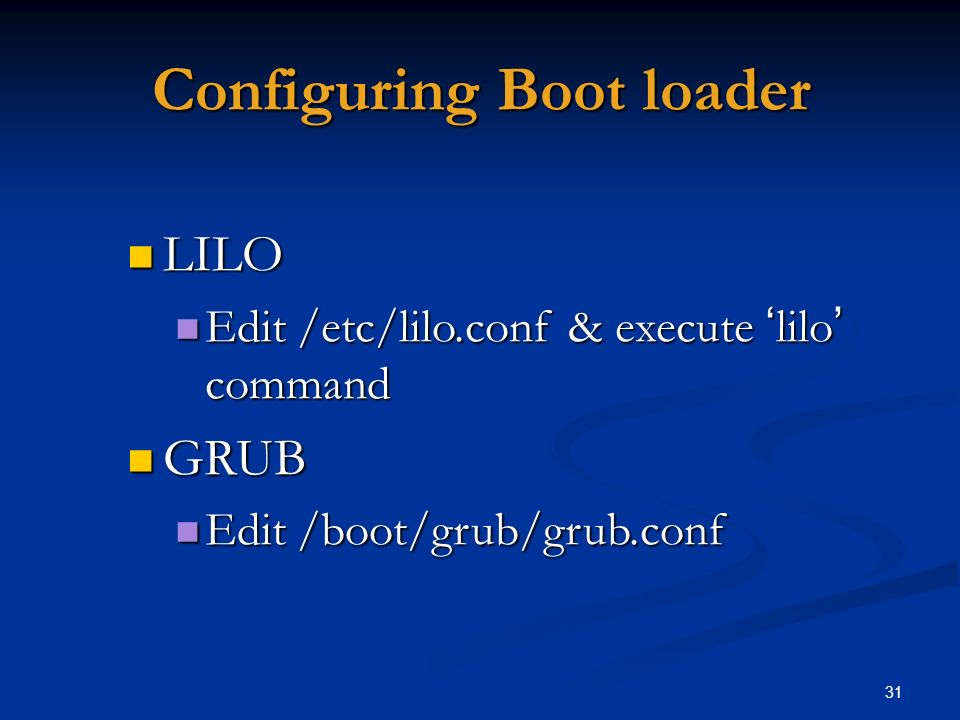 Configuring Boot loader