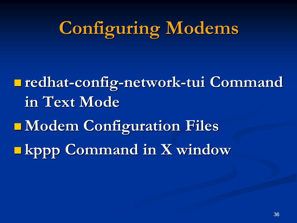 Configuring Modems redhat-config-network-tui Command in Text Mode