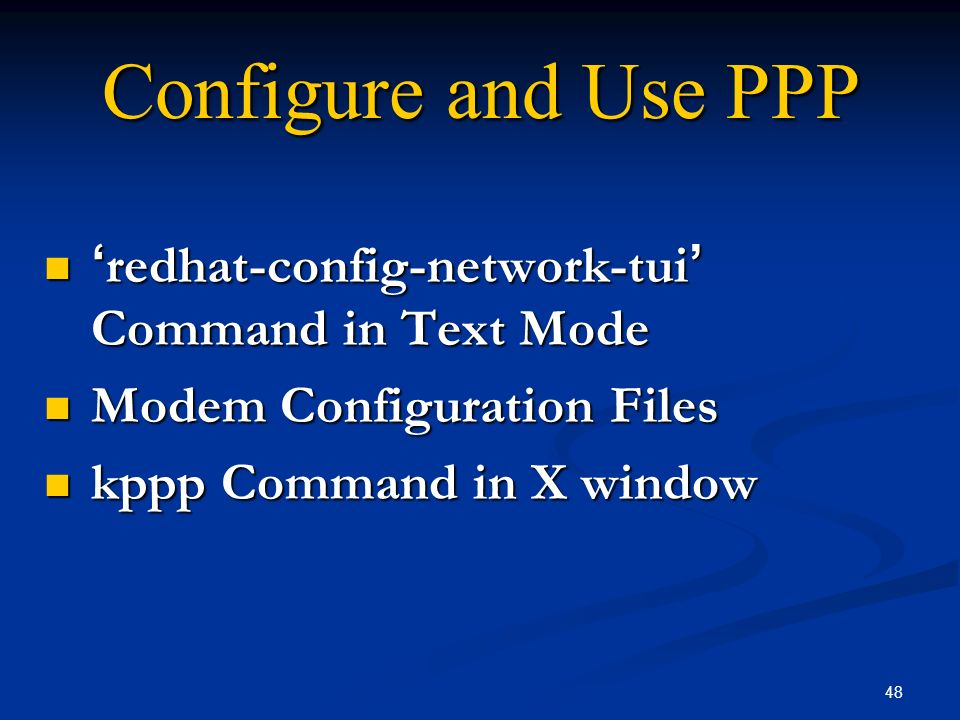 Configure and Use PPP 'redhat-config-network-tui' Command in Text Mode