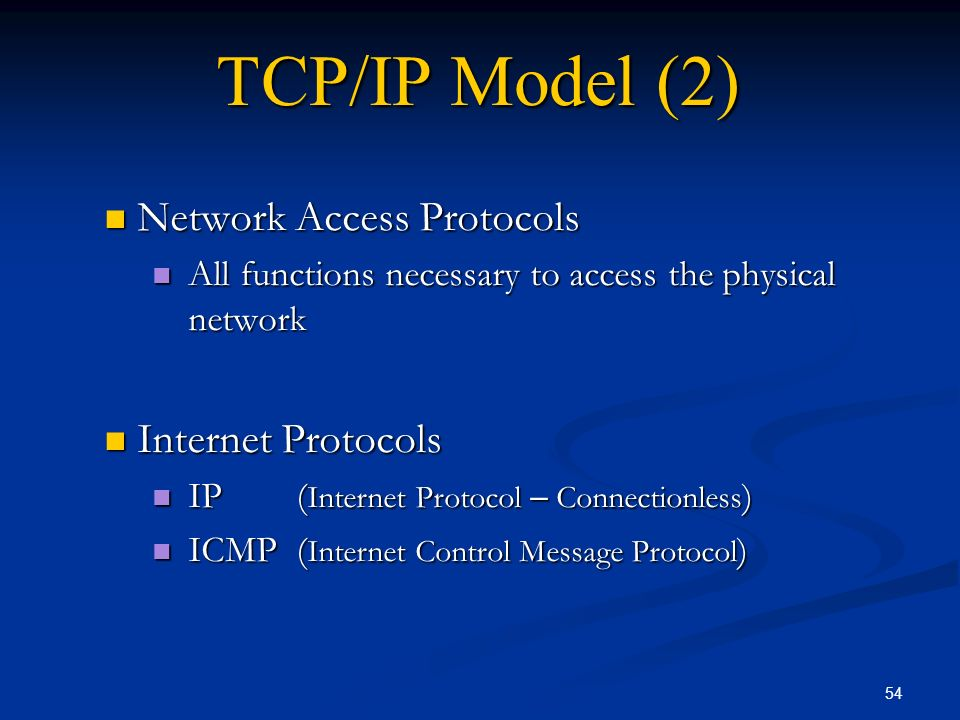 TCP/IP Model (2) Network Access Protocols Internet Protocols