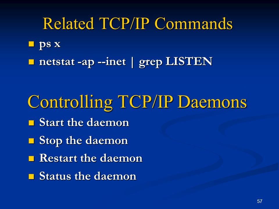 Related TCP/IP Commands