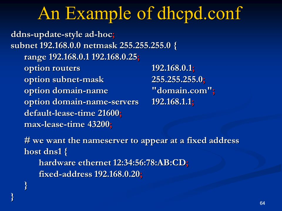 An Example of dhcpd.conf