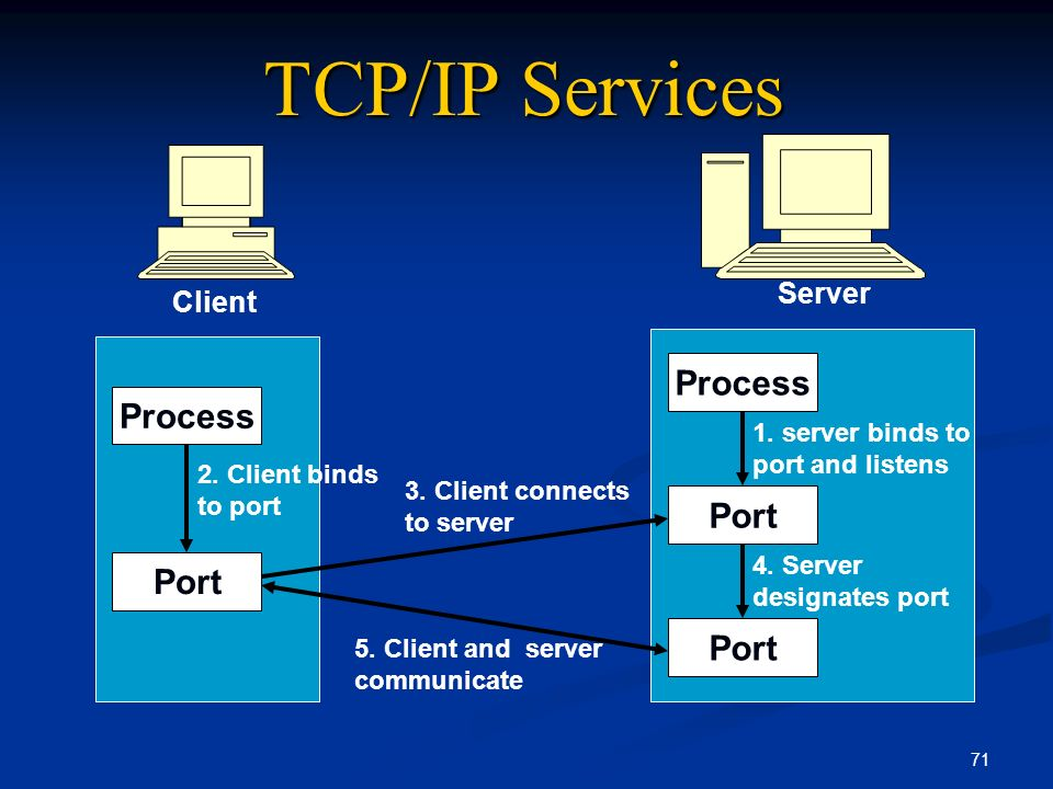 TCP/IP Services Process Process Port Port Port Server Client