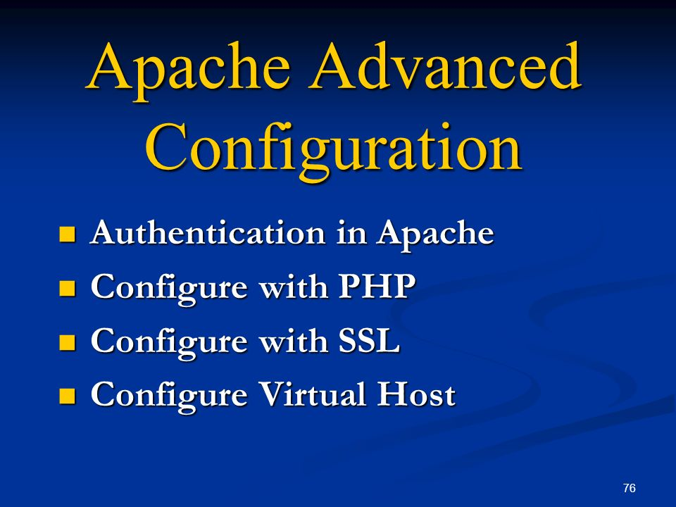 Apache Advanced Configuration