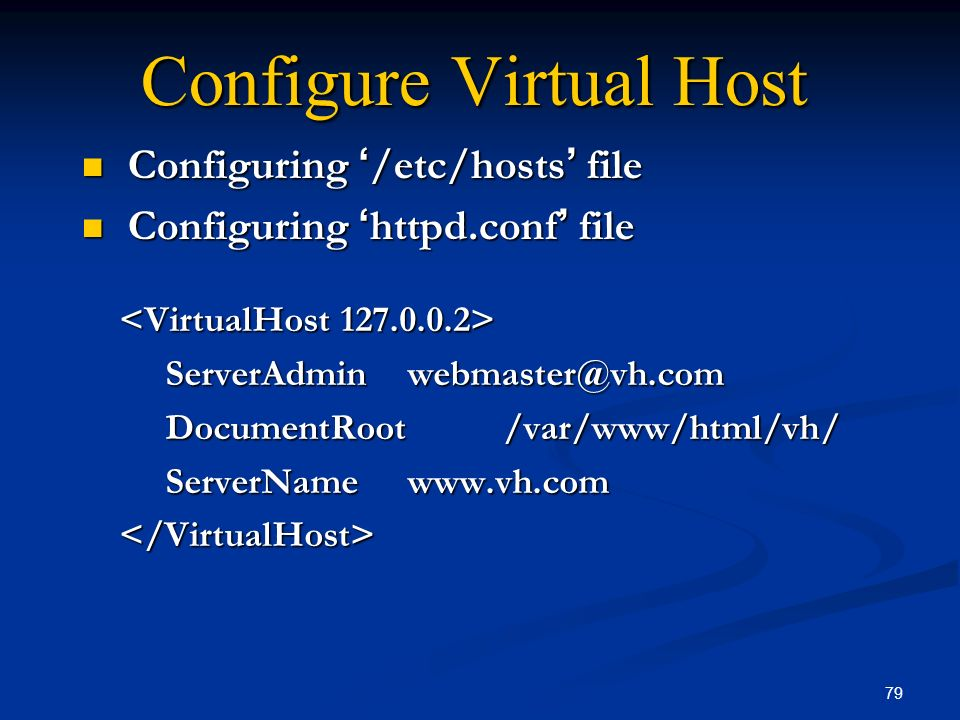 Configure Virtual Host
