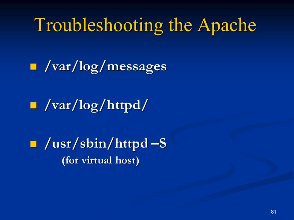 Troubleshooting the Apache