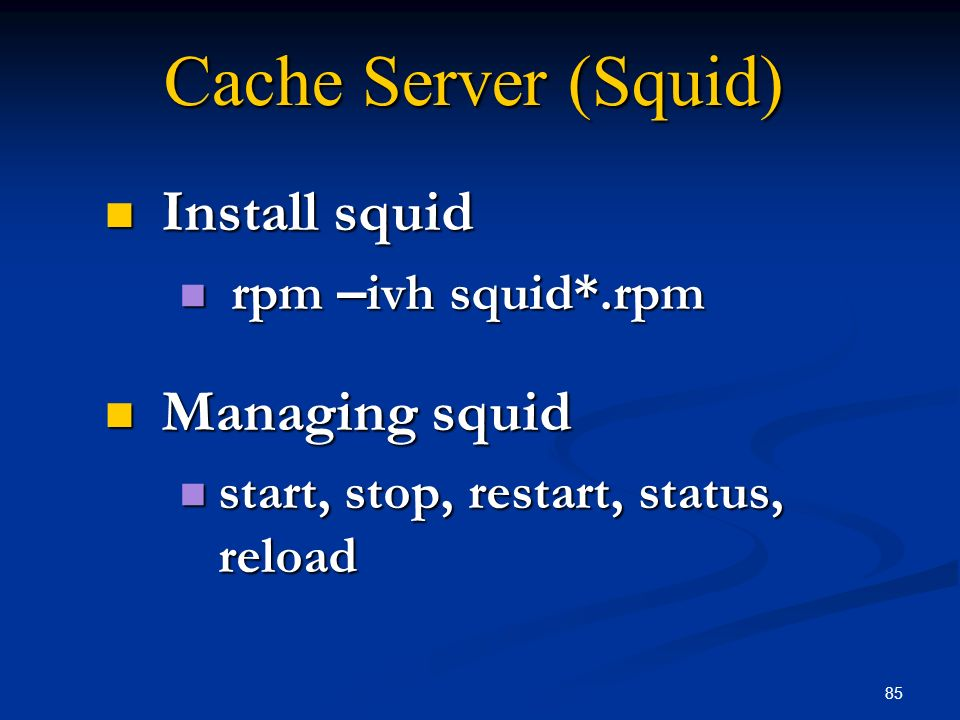 Cache Server (Squid) Install squid Managing squid rpm –ivh squid*.rpm