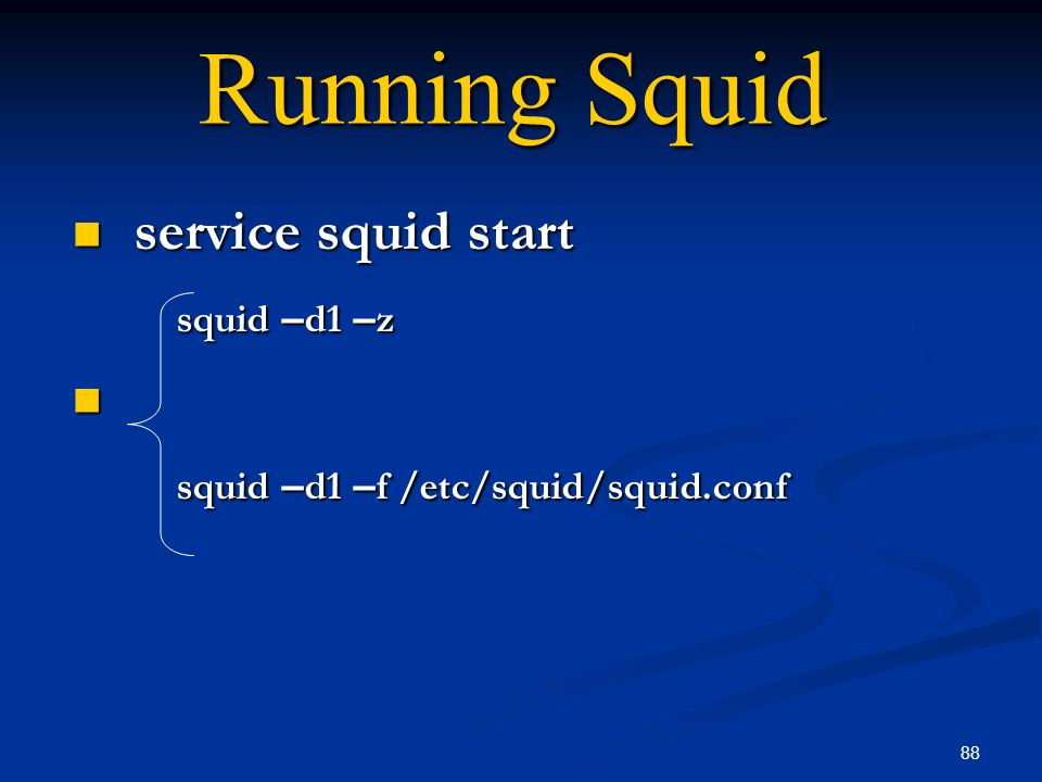 service squid start squid –d1 –z squid –d1 –f /etc/squid/squid.conf