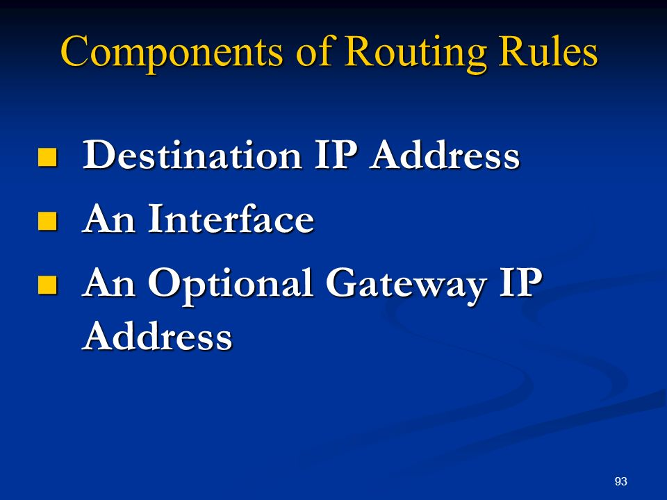 Components of Routing Rules